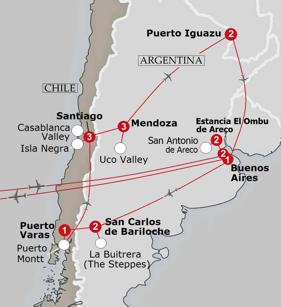 EuroVista Holidays Premium Escorted Small Group Coach Tours In - Argentina map small